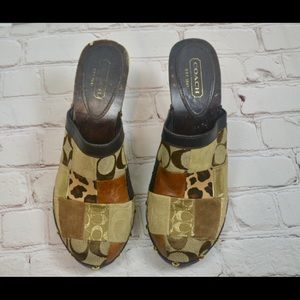 Coach Ingred 8.5 brown patchwork heeled mules